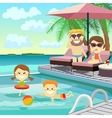 Family weekend Family on holiday around the pool vector image vector image