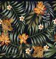 giraffe head plumeria lotus flowers seamless vector image