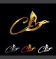 golden monogram duck initial letter c vector image vector image