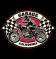 hand drawing style racing garage badge vector image vector image