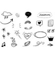 hand drawn set elements for concept design vector image