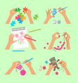hands craft handy workshop scrapbook project kids vector image