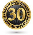 happy 30th years anniversary gold label vector image vector image