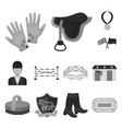 hippodrome and horse monochrome icons in set vector image