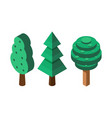 isometric tree icons vector image