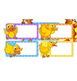 Lable design with yellow ducklings vector image vector image
