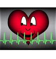 laughing heart with green cardio line vector image vector image