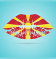 macedonia flag lipstick on the lips isolated on a vector image