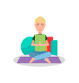 man doing yoga and meditation vector image