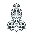 mjollnir thors hammer is an amulet of vikings vector image
