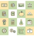 Money finance icons flat line vector image vector image