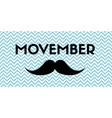 movember banner with mustache and chevron pattern vector image vector image