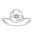 old western sheriff hat star clothing icon vector image