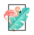 pink flamingo with tropical leaves card vector image vector image