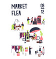 poster template for flea market or rag fair with vector image