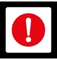 Problem flat red and white colors rounded button vector image vector image