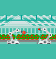 robot working in a greenhouse vector image vector image