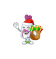 santa purple potion cartoon having box gift vector image vector image