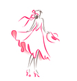 Scribble silhouette of woman vector image vector image