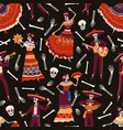 seamless pattern of mexican day of dead vector image vector image