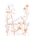 silhouettes of flowers and grass vector image vector image