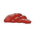 sliced beef tenderloin slices red meat vector image vector image