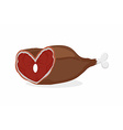 Smoked ham heart-shaped Meat on the bone Gammon vector image