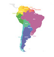 south america region colorful map of countries