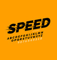 speed style font design alphabet and numbers vector image vector image
