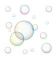 transparent soap bubbles on white background vector image vector image