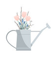 watering can with doodle spring flowers and pussy vector image vector image