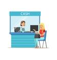 Woman Withdrawing Cash At Bank Cashier Bank vector image vector image