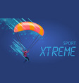 xtreme sport banner young man with parachute fly vector image vector image