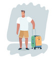 young guy suit with travel bag on wheels vector image