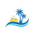 palm wave sunset travel logo vector image