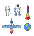 Astronaut and Earth space icon set vector image