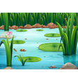 A pond with green plants vector image