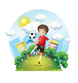 A soccer player practicing near the high buildings vector image vector image