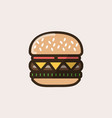 burger sandwich with cheese and salad leaves vector image