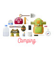camping basic equipment set for hikers and vector image vector image