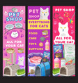 cat care and pet shop banners goods for kitten