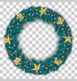 christmas wreath of realistic spruce pine branches vector image