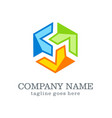 circle shape technology colored company logo vector image vector image