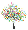 colored tree with flowers butterflies and circle vector image vector image