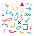 colorful hand drawn curvy direction arrows icons vector image