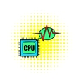 CPU icon in comics style vector image