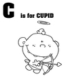 Cupid baby cartoon with letter vector image vector image