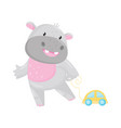 cute adorable hippo playing with toy car lovely vector image vector image