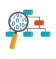 data analysis organization chart magnifier vector image