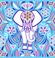 elephant and abstract flowers vector image vector image